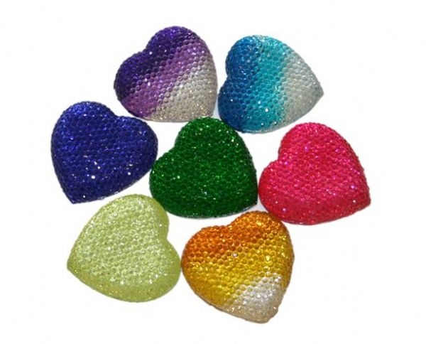 Diamond acrylic flat back -- heart shape range 15mm x 15mm x 4mm